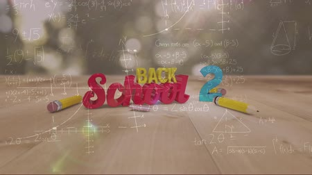 de volta : Animation of the words Back To School in yellow, red and blue with mathematical formulae and pencils on a city park background Vídeos