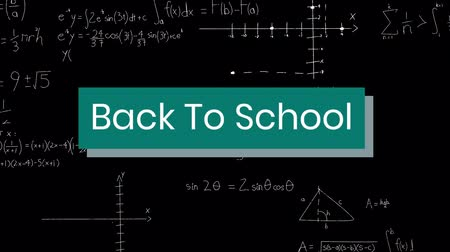 formulae : Animation of the words Back To School in white on turquoise banner on a blackboard with mathematical formulae Stock Footage