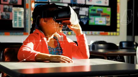 formulae : Animation of a Caucasian schoolgirl wearing a VR headset, looking around and raising her hand with virtual mathematical formulae in the foreground Stock Footage