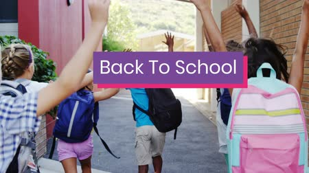 9月 : Animation of the words Back To School in white on purple and pink banner with back view of schoolchildren running to school with arms in the air in the background