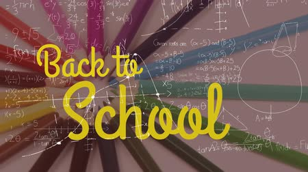 фон : Animation of the words Back To School in yellow with mathematical formulae and rotating colourful pencils in the background