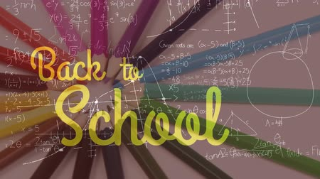 formulae : Animation of the words Back To School in yellow with mathematical formulae and rotating colourful pencils in the background