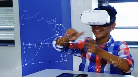 formulae : Animation of an African American schoolboy wearing a VR headset and using his hands to move virtual mathematical formulae