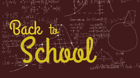 formulae : Animation of the words Back To School in yellow with mathematical formulae on the blackboard in the background