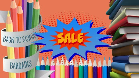 фон : Animation of the words Back To School Bargains Sale in yellow on a star shape with books and pencils next to it and on an orange background Стоковые видеозаписи
