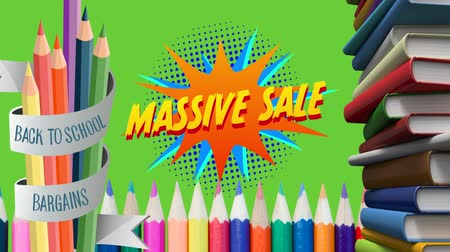 фон : Animation of the words Back To School Bargains Massive Sale in yellow and red on a star shape with books and pencils next to it and on a green background