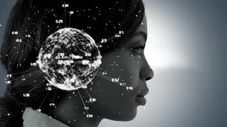 social change : Animation of a globe spinning with data and connection network with a side view of the face of a young African American woman on a grey background