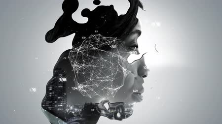 social change : Animation of a globe spinning with data and connection network with a side view of the face of a young African American woman appearing from a liquid background