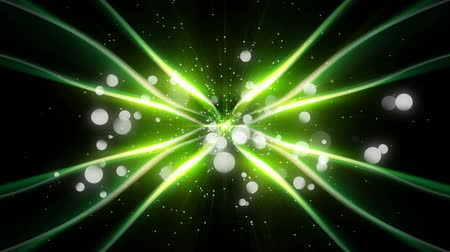 żródło : Animation of glowing green waves of light emanating from a central source, with floating translucent white spots of light on a black background