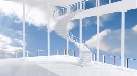 redes : Animation of blue sky and clouds outside modern interiors with spiral staircase