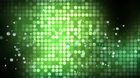 ilustracje : Animation of a bank of twinkling green lights with floating white spots of light on a black background