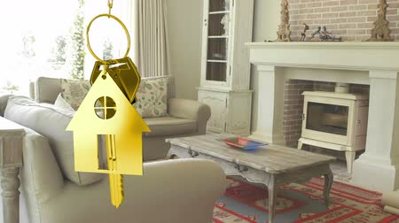 ипотека : Animation of golden house keys and house shaped key fob hanging with house interior in the background