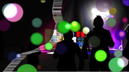 disko : Animation of coloured spots of defocused twinkling light passing in front of the moving white outline of a dancer and two smaller silhouetted dancers with a bank of colourful screens showing more silhouetted dancers on a black background