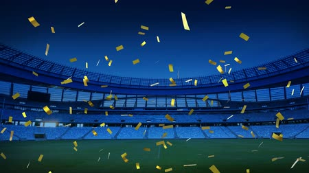 konfetti : Animation of a sports stadium at night with golden confetti falling