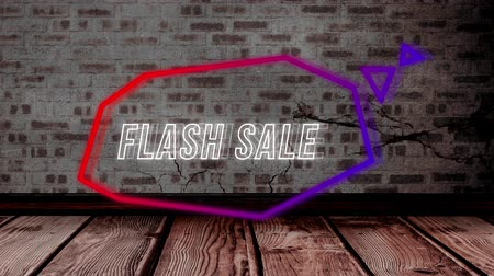 угловой : Animation of the Flash Sale white neon sign in angular pink and purple speech bubble and triangles appearing on brick wall background