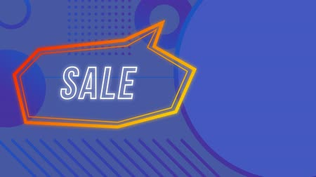 terms : Animation of the Sale white neon sign in angular yellow and orange speech bubble appearing on a blue patterned background