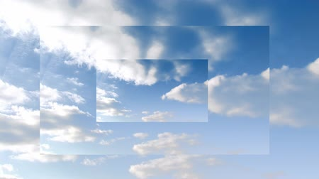 уменьшающийся : Animation of rolling white clouds in a blue sky on three overlaid screens of diminishing size