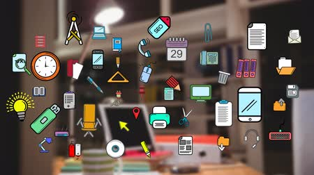 articulos de oficina : Animation of colourful icons of office items appearing over an out of focus office in the background