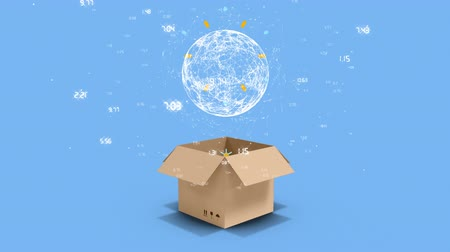 kutu : Animation of a white rotating globe while a cardboard box moves to the foreground and opens, on a blue background