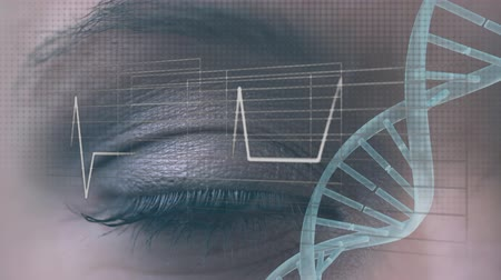 geny : Animation of a turning 3d strand of DNA over a close up of the eye of a young Caucasian woman in the background, with heart beat reading moving over her eye in the foreground