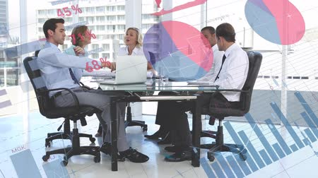 escritórios : Animation of a group of multi-ethnic business people sitting around a table at a meeting in the office with graphs and charts appearing in the foreground Stock Footage