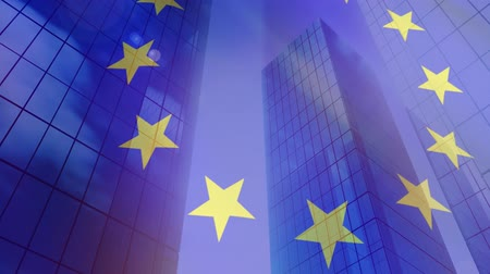 membro : Animation of a blowing EU flag with modern office buildings in the background Vídeos