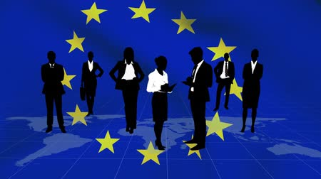 membres : Animation of a blowing EU flag with silhouettes of business people standing on a world map and networking in the background