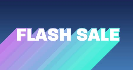 flash sale : Animation of the words Flash Sale appearing from bottom left in white with trails in purple to green against a dark blue background