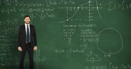 matemático : Animation of a young Caucasian man standing and looking around in front of chalkboard with moving mathematical graphs and formulae written in chalk Stock Footage