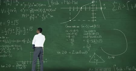 de volta : Animation of back view of a Caucasian man with arms crossed in front of green chalkboard with moving mathematical calculations formulae written in chalk