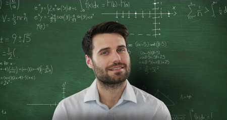 matemático : Animation of smiling Caucasian man looking up in front of chalkboard with moving mathematical graphs and formulae written in chalk