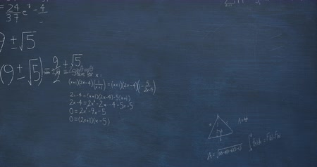 formulae : Animation of mathematical calculations and equations handwritten in light blue chalk floating above a dark blue chalkboard background