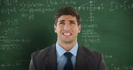 matemático : Animation of confused Caucasian man looking up in front of chalkboard with moving mathematical graphs and formulae written in chalk