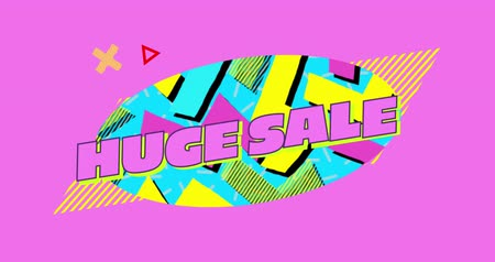 oválný : Animation of the words Huge Sale in pink letters on a bright coloured oval with moving graphic and shapes on a pink background