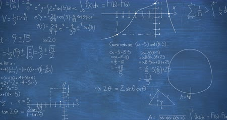 formulae : Animation of handwritten mathematical calculations in white appearing on a blue chalkboard background Stock Footage