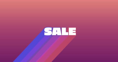 price reduction : Animation of the word Sale appearing from bottom left in white with trails in gradient blue to purple on a dark pink gradient background