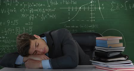 matemático : Animation of young Caucasian man seen waist up sleeping on desk in front of moving mathematical calculations written in chalk on a chalkboard