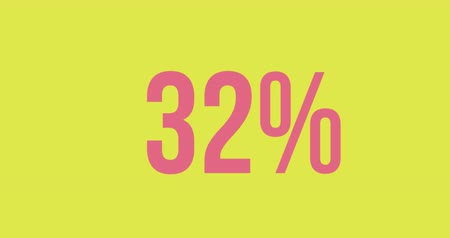 completo : Animation of percent increasing from zero to one hundred filling in pink on a bright green background