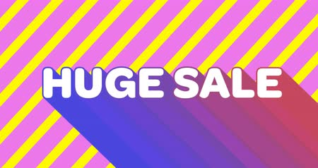 сокращение : Animation of the words Huge Sale appearing in white capital letters with gradient pink to purple flash on yellow and pink striped background