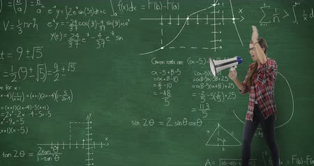 matemático : Animation of a young Caucasian woman seen side on standing and screaming through megaphone in front of blackboard with moving mathematical graphs and formulae written in chalk