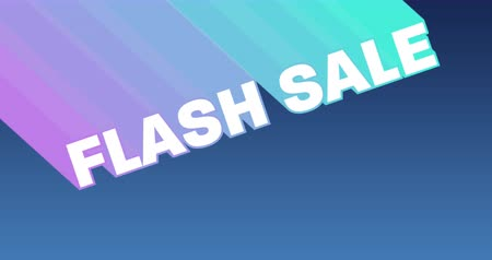 flash sale : Animation of the words Flash Sale appearing from top left in white with trails in purple to green against a dark blue gradient background