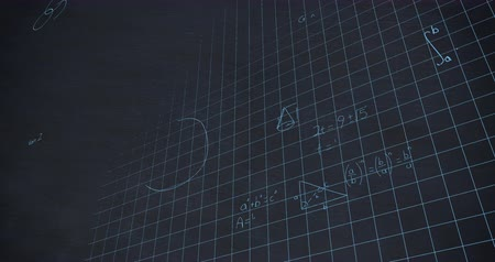 formulae : Animation of handwritten mathematical calculations in blue chalk floating over a grid on a dark blue chalkboard background