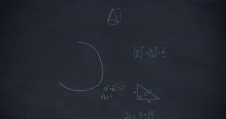 formulae : Animation of zoom out showing mathematical equations and calculations handwritten in blue chalk moving on a dark blue chalkboard background Stock Footage