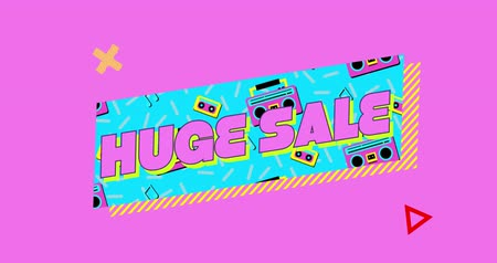 terms : Animation of the words Huge Sale in pink letters on a turquoise banner with moving graphic and shapes on a pink background Stock Footage