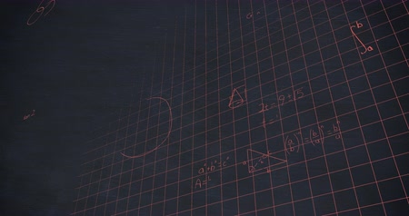 formulae : Animation of handwritten mathematical calculations in pink chalk floating over a grid on a dark blue chalkboard background