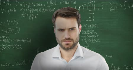 matemático : Animation of dissapointed Caucasian man in front of chalkboard with moving mathematical graphs and formulae written in chalk