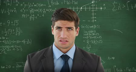 matemático : Animation of confused Caucasian man in front of moving mathematical graphs and formulae written in chalk on a blackboard