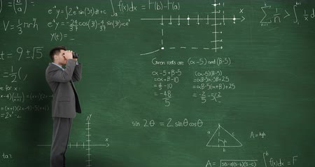 matemático : Animation of a young Caucasian man looking through binoculars in front of moving mathematical graphs and formulae written in chalk on the chalkboard