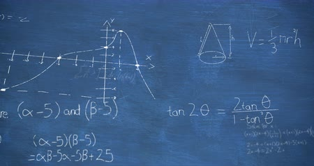algèbre : Animation of zoom in towards mathematical equations and calculations handwritten in white chalk moving on a blue chalkboard background