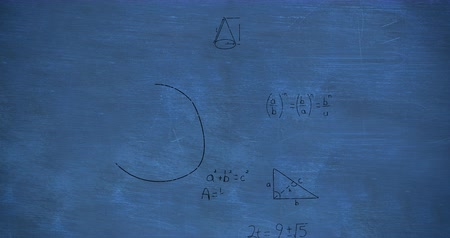 formulae : Animation of zoom out showing mathematical equations and calculations handwritten in black chalk moving on a blue chalkboard